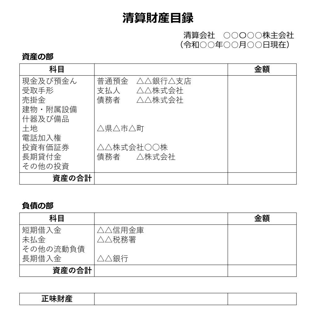 参考:清算財産目録サンプル